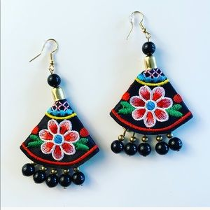Artesanal Embroidered Beaded Dangling Earrings